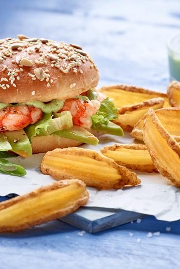 Garnelenburger mit Crispers